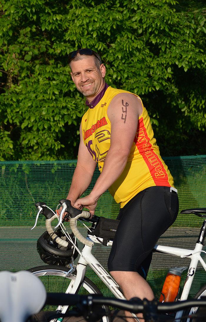 Jeremy biking in triathlon