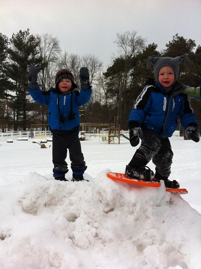 Jeremy's kids on snow mound