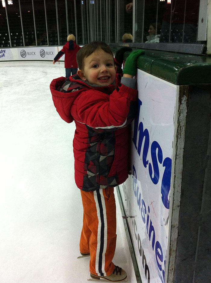 Jeremy's son ice skating